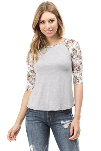 Bubble B Women's Raglan Top Floral Print Sleeves Junior Size Grey Ivory M