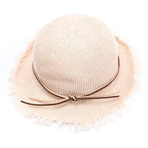 accsa Toddler Kid Girl Straw Floppy Brim Panama Fedora Sun Hat Beach Summer UPF Protection Foldable with Bow Age 3-6]()