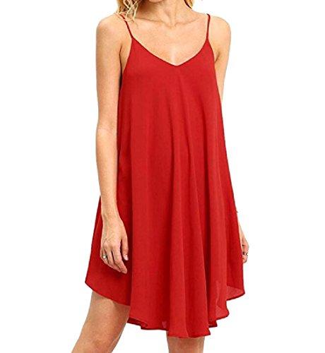 V Da Cinghia Partito Attraversare Del Di Spaghetti donne Coolred Vestito Rosso Collo Backless Solido 5AxBwnSE