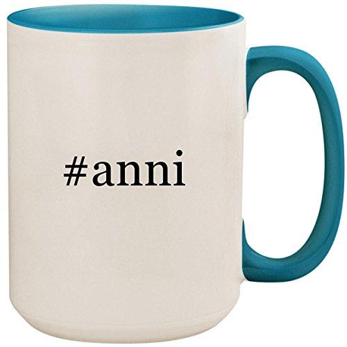 #anni - 15oz Ceramic Colored Inside and Handle Coffee Mug Cup, Light Blue