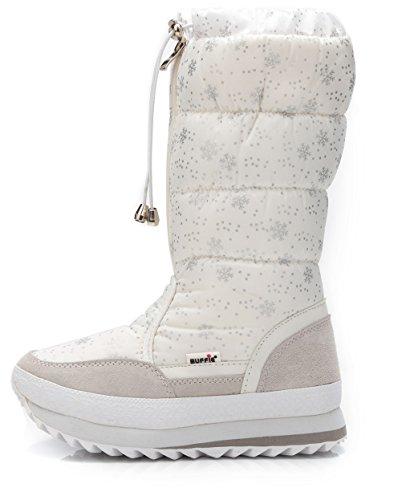 DADAWEN Women's Winter Waterproof Fur Lined Frosty Snow Boots White US Size (Frosty Snow Boot)