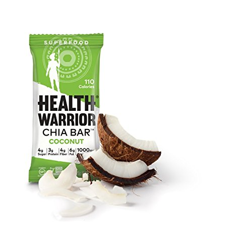 HEALTH WARRIOR Chia Bars, Coconut, Gluten Free, Vegan, 25g bars, 15 Count