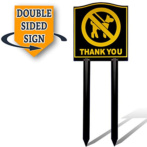 No Pooping Dog Signs   Keep Pets Off Grass Sign With Stake   No More Dogs Peeing or Pooping On Your Lawn   Deluxe Double Sided 26 Inch Tall High ()