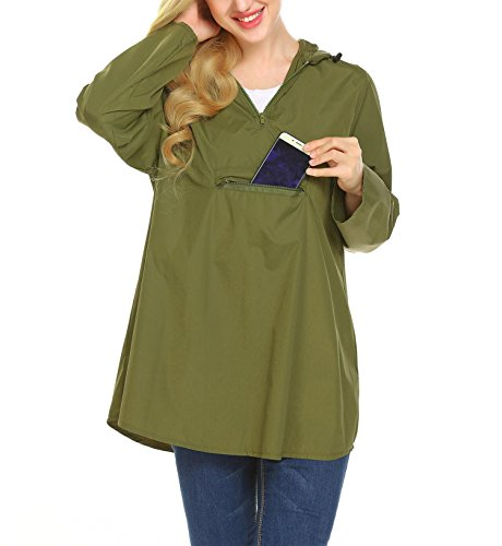 Zeagoo Women's Waterproof Packable Rain Jacket Batwing-Sleeved Poncho Raincoat Olive Green L