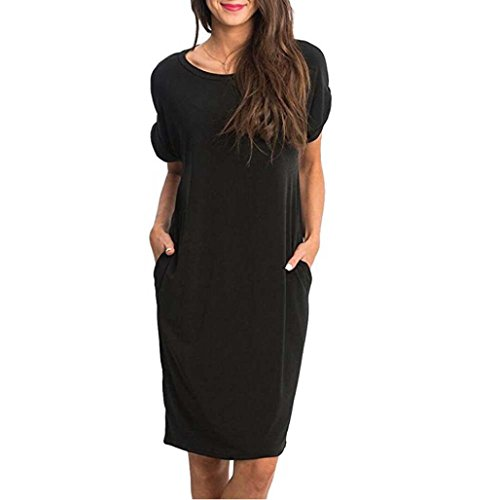 Abkola Dress Women's Tshirt Dress with Pockets O-Neck Casual Sexy Plain Solid Tunic T-Shirt Dress (XXL, Black) by Ankola-Women Dress