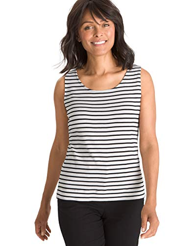 Chico's Women's Supima Cotton Convertible Striped Tank Size 20/22 XXL (4) - Cotton Tank Supima