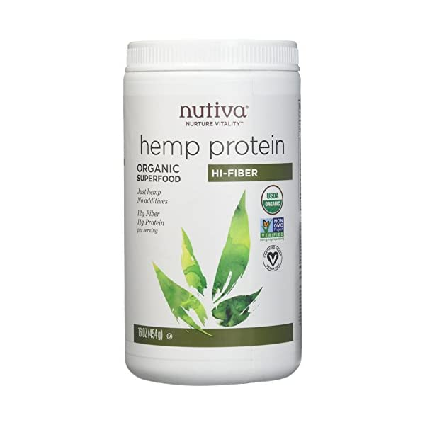 Pack of 1 x Nutiva Organic Hemp Protein Hi-Fiber – 16 oz