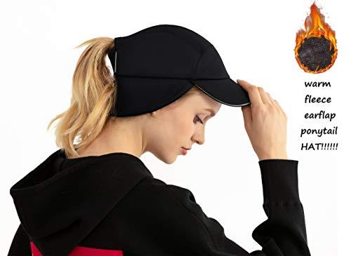 Womens Messy Bun Ponytail Winter Fleece Earflap Hat|Windproof Warmer Cap for Running Ski Gear Baseball Accessories Black