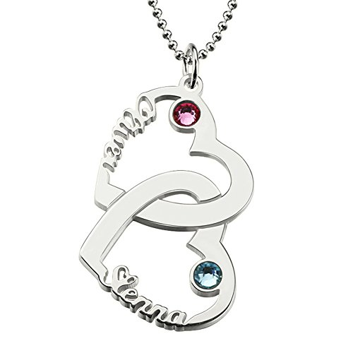 Intertwined Double Open Heart Personalized Name Necklace Silver Birthstone Custom Made with 2 Names(silver)