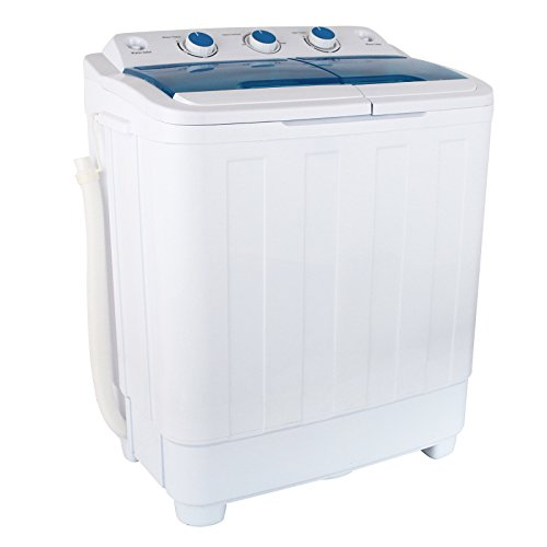 KUPPET 17Ibs Portable Washing Machine, Compact Twin Tub Washer and Spin Dryer Combo for Apartment, Dorms, RVs, Camping and More