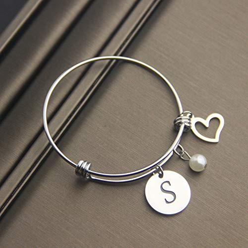 EIGSO Initial Bracelet Letter Bracelet with Heart Charm Memory Bracelet Jewelry Gift for her (BR-S) … by EIGSO (Image #3)