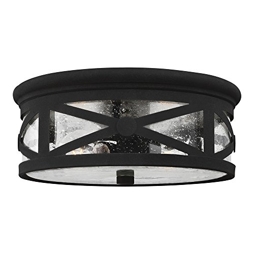 Two Light Outdoor Flush - Sea Gull Lighting 7821402-12 Lakeview Two-Light Outdoor Flush Mount Ceiling Light with Clear Seeded Glass Shade, Black Finish