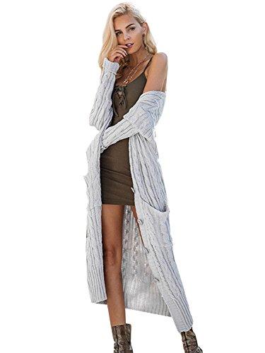 6272615a68aa Simplee Apparel Damen Lang Strickjacke V-Ausschnitt Kabel Cardigan  Strickmantel mit Taschen Grau sfzxktFJ6h