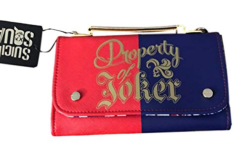 Harley Quinn Property Of Joker Clutch Purse Bag With Gold Color Chain