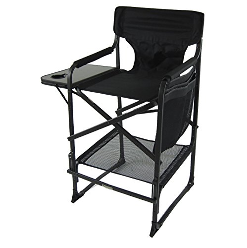 World Outdoor Products XL Tall Directors Chair with Adjustable, Automatic Footrest, Removable Back and a XL Side Table with Cup Holder, Dual-Pocket Side Bag and Storage Net. by World Outdoor Products