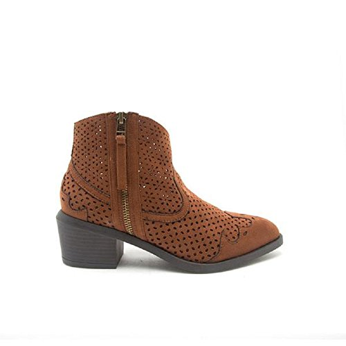 Ankle Boot Suede Perforated Bootie Chestnut Thrill Qupid Shoe Women's Faux Heeled WpqnCYYTSx