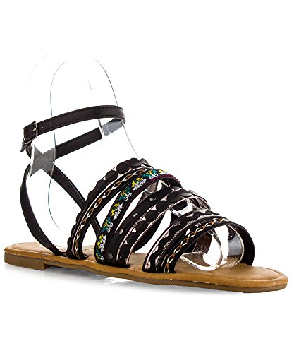 ROF Womens Fashion Embroidered Strappy Cut Out Open Toe Gladiator Sandal BLACK (8.5)