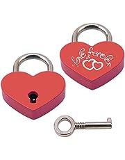 BaiJ Gegraveerd hart hangslot, liefde hangslot in hartvorm met sleutel voor bagage handtas dagboek Valentijnsdag cadeau gouden/zilver/roségoud/blauw/roze/rood