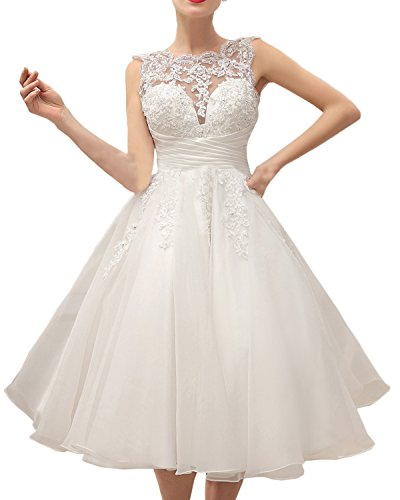 MILANO BRIDE Chic Wedding Party Dress Illusion-Neck Tea-Length Lace Prom Dress-2-Light Ivory by MILANO BRIDE (Image #4)