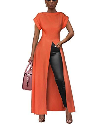 Womens Sexy Summer Outfit Top - Short Sleeve Cami Crop Top Slit Cocktail Long Maxi T Shirt Dress Blouse Orange L
