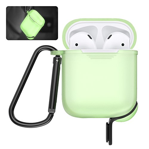 AirPods Protective Case, MoKo Silicone Cover Shock Proof Protective Cover Skin with Carabiner & Dustproof Plug for Apple Airpods Charging Case, Green (Glow in Dark)