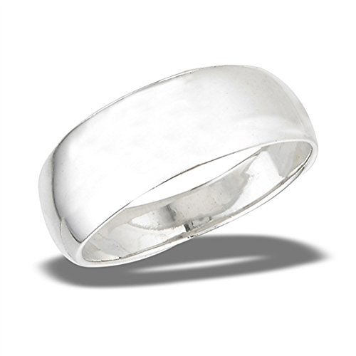 Band Tapered Ring - High Polished Wide Tapered Wedding Ring New .925 Sterling Silver Band Size 7
