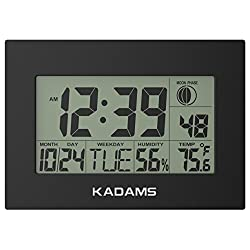 KADAMS Digital Wall Clock with Alarm, Seconds Counter, Snooze, Calendar Date Day, Indoor Temperature, Humidity, Moon Phase, Large Display, Shelf and Desk Clock Stand, Non Atomic, No Backlight - Black