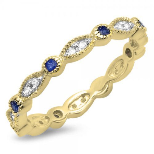 10K Yellow Gold Round Blue Sapphire & White Diamond Ladies Vintage Wedding Stackable Ring (Size (Sapphire Fashion Stackable Ring)