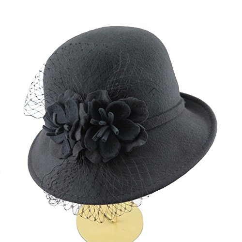 Women's 100% Wool Felt Cloche Hat with Flower 7 Color (Grey)