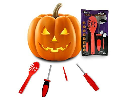 KINREX Pumkin Carving Kit Tools - Jack - O - Lantern Halloween Decorations - 4 Sculpting Carving Tools and 8 Stencils - -