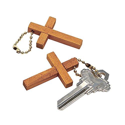 12 Wooden Cross Key Chains -