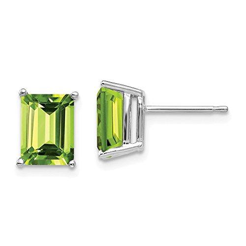 Mia Diamonds 14k White Gold 8x6mm Emerald Cut Peridot ()