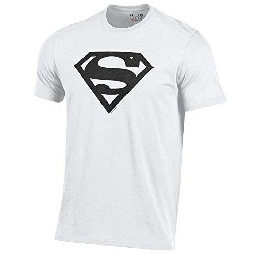 Under Armour Men's Alter Ego Superman Charged Cotton Performance T-Shirt-White with Black Shield-XL