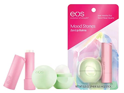 eos Mood Stones Zen Lip Balms Jade Matcha Tea Sphere (0.25 oz) and Sweet Rose Quartz Stick (0.14 ()