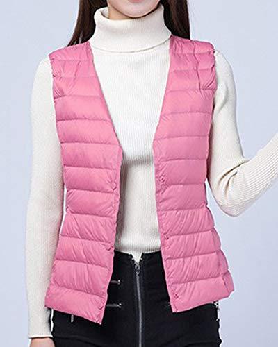 D'hiver Clair Manches Gilet Vestes Chaud Zhuikuna Veste Pour Sans Rose Plume De Sport Femmes Packable Manteau wBxP4AFq