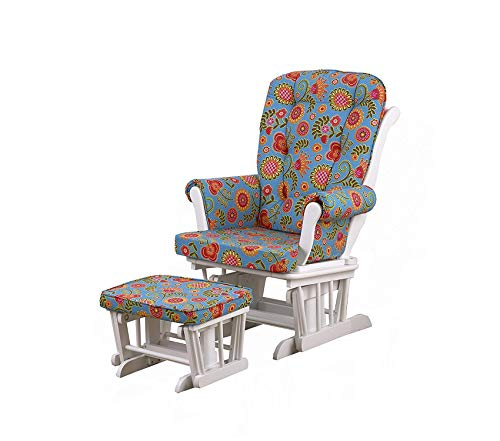 Wood & Style Glider Floral on White with Ottoman Gypsy Large Decor Comfy Living Furniture Deluxe Premium Collection