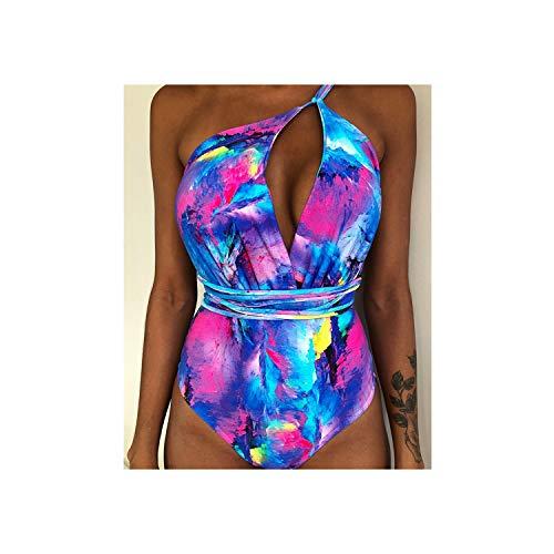 Sexy One Piece Swimsuit Women Swimwear Push Up Bandage Bodysuit Beach Wear Bathing Swim Suit,Blueprint,S