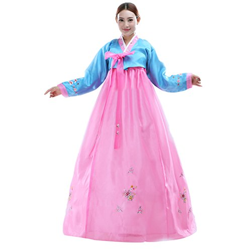 Korean Dance Costume (Women's Korean Traditional Costume Long Sleeve Hanbok Dress CC569A-XL)