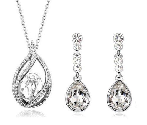Mariée Strass Blanc Goutte d'eau Parure de bijoux boucles d'oreilles clous et collier S524