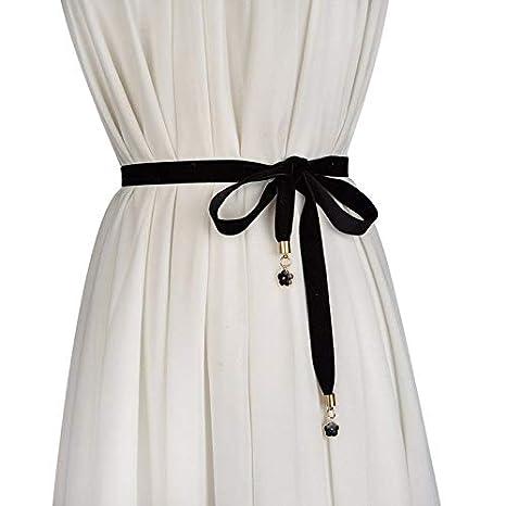 YISANLING-YD Moda Mujer Toalla de Seda Tela cinturón de Terciopelo Fino Cinta de Seda Anudada Vestido Decorativo Cadena de la Cintura Negro: Amazon.es: ...