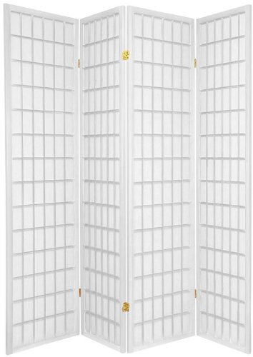Legacy Decor 4-Panels Shoji Screen Room Divider, White 71'H x 70'W
