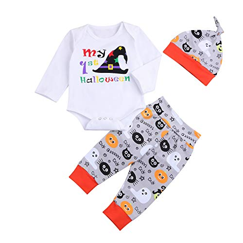 3PCs Newborn Baby Halloween Outfit My First Halloween Witch Hat Pattern Romper Pants Hat Clothes Set (0-3 Months)