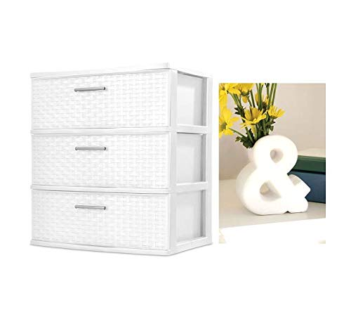 BLOSSOMZ' Wide Weave Tower with Vase (White, 3-Drawer) (Furniture Chester Discount)
