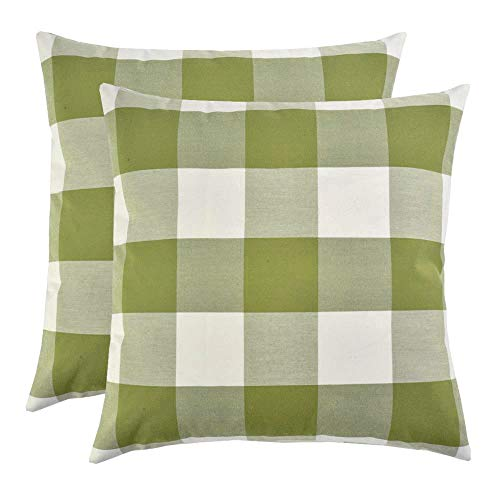 Artcest Set of 2, Decorative Cotton Blend Dyed Bed Throw Pillow Case, Sofa Durable Plaid Pattern, Comfortable Couch Cushion Cover (Moss Green, 20 X 20 Inches)