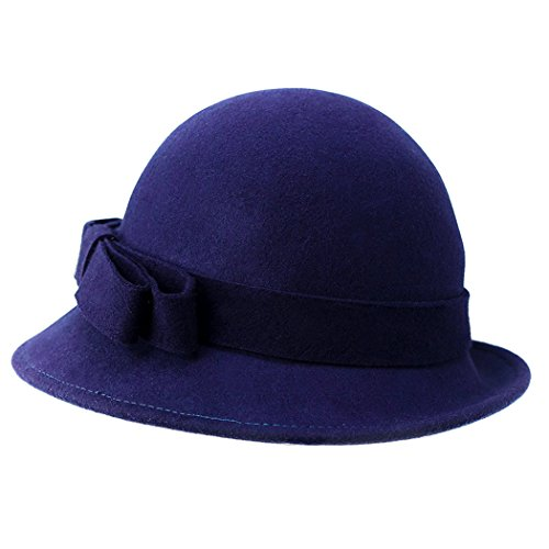 Felt Cloche Hat 100% Wool Vintage Bowler for Women with Bow Bucket Bell Shaped Cap Adjustable size in Autumn Winter (Fedora Hats Australia)
