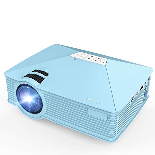 Mini Projector, DBPOWER GP15 +50% Brighter Portable LCD Mini Video Projectors,50000Hours Support 1080P HDMI USB SD Card VGA AV for Multimedia Home Cinema, Movie, TV, Laptops, Games, Smartphones, Blue]()