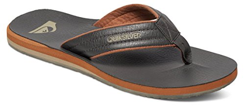 Quiksilver Men's Carver Nubuck 3 Point Sandal, Demitasse/Solid, 10 M US Quiksilver Mens Point