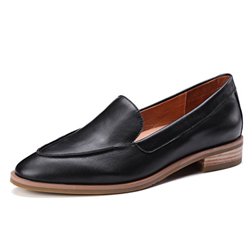 Heel Loafer Womens Shoes - ONEENO Loafers for Women Comfort Casual Pointed Toe Slip on Low Heels Cowhide Leather Flat Shoes Black Size 7 US