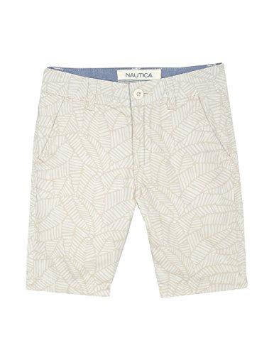 Nautica Boys' Big Printed Flat Front Short, Logan Leaf Khaki, 12