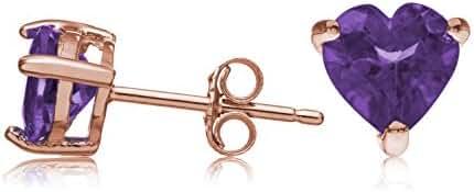 Rose Gold Plated Sterling Silver Stud Earrings Purple Amethyst Heart Shape Genuine 6mm